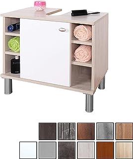 RICOO WM100-EP-W, Mueble baño bajo Lavabo, 60x54x32cm, Armario Auxiliar pequeño, Estantería Debajo lavamanos, Toallero, Madera Blanca y Roble marrón