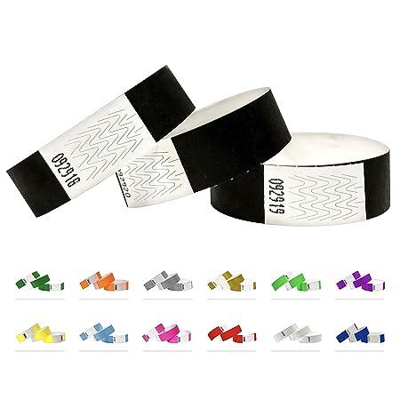 Bracelets d'identification Tyvek 19 mm, 500 pièces, Black - Noir, Bracelets événementiels