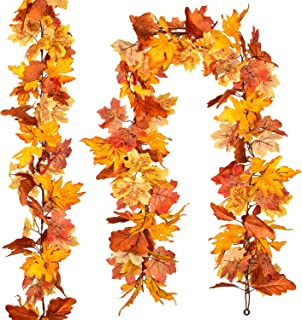 DearHouse 2 Pack Fall Garland Maple Leaf,Hanging Vine Garland Artificial Autumn Foliage Garland Thanksgiving Decor for Hom...
