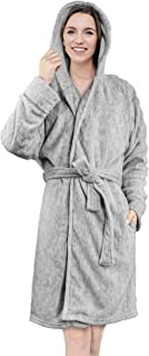 Women Hooded Fleece Robe with Satin Trim | Plush Bathrobe with Hood Knee Length