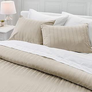 Welhome Alexander 100% Cotton Sateen Stripe Duvet Set - Full/Queen Size - Buff
