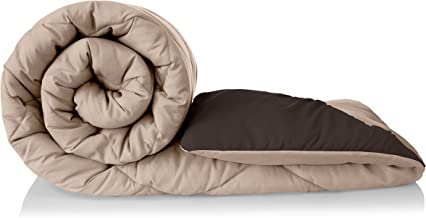 Amazon Brand - Solimo Microfibre Reversible Comforter, Double (Subtle Beige & Walnut Brown, 200 GSM)