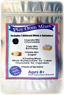 Children`s Easy to Bake Oven Mixes Play Toy Oven Real 7 Mixes Mega Refill Kit Cupcakes Cookies Frosting Sprinkles Ultimate Set Cooking Baking Supplies Super Pack Net Wt 6.2 oz