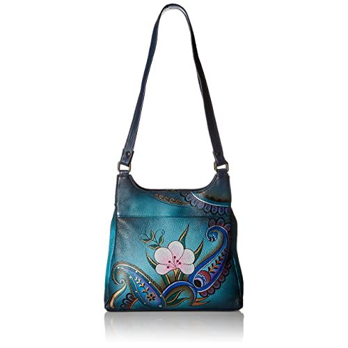 Anna by Anuschka Genuine Leather Triple Compartment Satchel   Hand Painted  Original Artwork bb983095f1