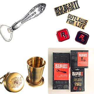 Red Dead Redemption II Pin Set , Collapsible Shot Glass, Bottle Opener New Sealed