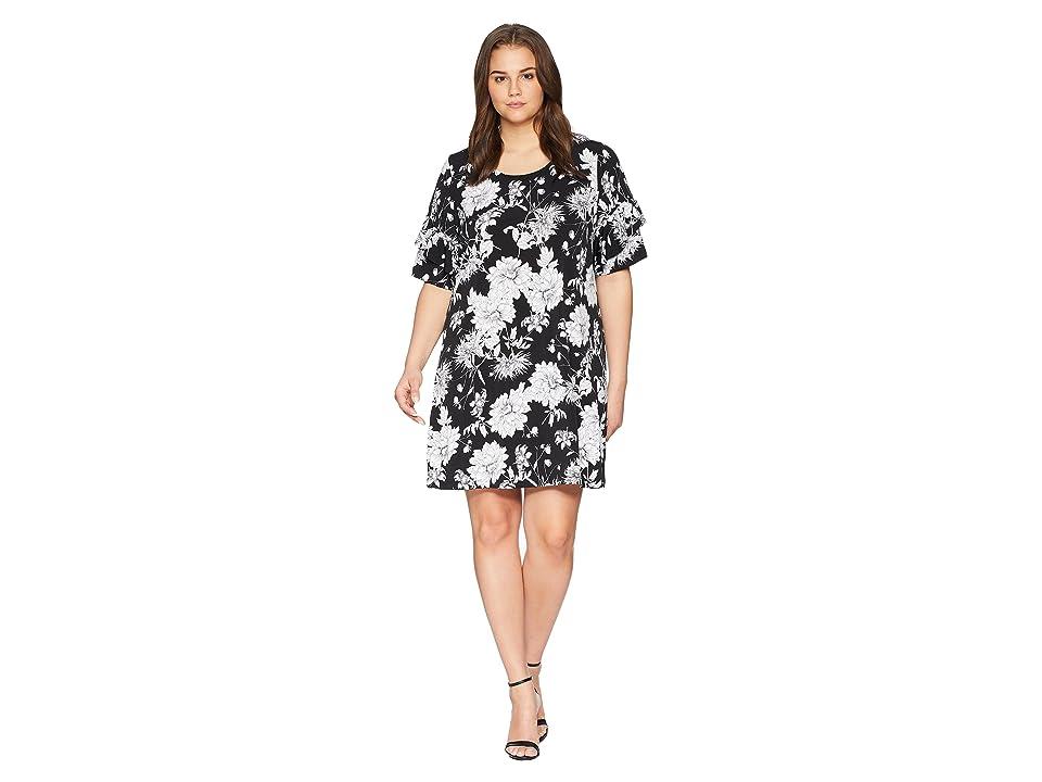 Karen Kane Plus Plus Size Ruffle Sleeve Dress (Print) Women