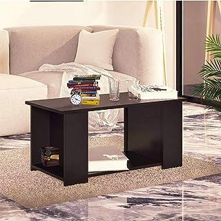 Klaxon Split Engineered Wood Coffee Table/Centre Table, Tea Table (Black)