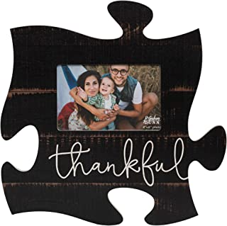 P. Graham Dunn Thankful Script Design Black Distressed Wood Look 4 x 6 Wood Puzzle Wall Plaque Photo Frame