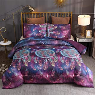A Nice Night Galaxy Dreamcatcher Printed Bohemia Comforter Set Queen Size, Boho Dream Catcher Quilt Bedding Sets (Galaxy Dreamcatcher)