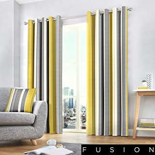 """Fusion Rayas Whitworth, Ocre, Curtains: 66"""" Width x 90&"""