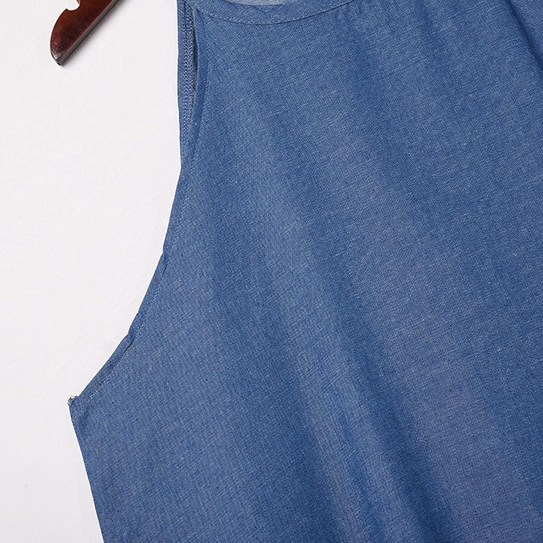 iuockg Women's Solid Color Sleeveless Vest Loose Plus Size Denim Skirt Long Skirt