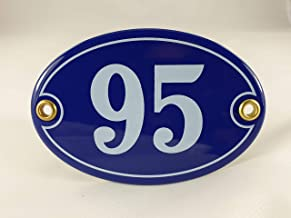 Emaille huisnummerbordje nr. 95, ovaal, blauw-wit Nr. 95 Blau-Weiß + Schrauben und Dübel