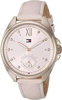 Tommy Hilfiger Women's Casual Stainless Steel Quartz Watch with Leather Strap, Pink, 16 (Model: 1781992)