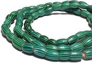 Antique Venetian Melon Old Green Chevron Oval glass African trade beads