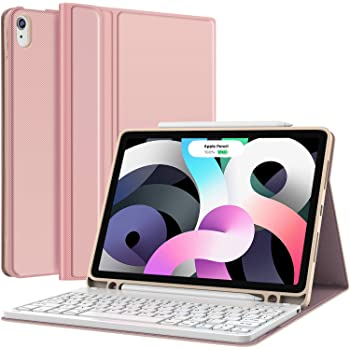 iPad Air 4 Case with Keyboard (10.9-inch, 2020) - Detachable Wireless Keyboard - Pencil Holder - Flip Stand Cover for iPad Pro 11 2018/iPad Air 4 10.9 Inch 2020, Pink
