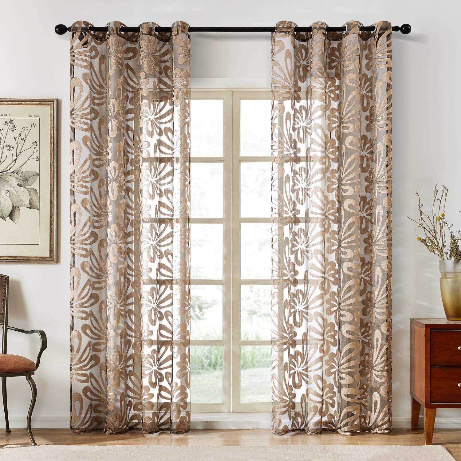 Top Sale Finel Floral Sheer Curtains 96 Inches outlet Room for Living Long B