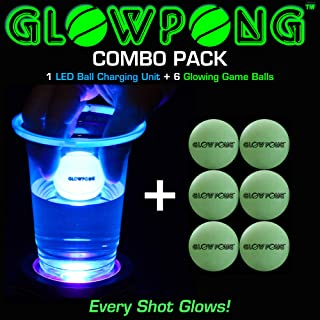 GLOWPONG Combo Pack - 1 LED Ball Charging Unit + 6 Glowing Game Balls for Indoor Outdoor Nighttime Glow-in-The-Dark Beer Pong Drinking Game Fun and General Purpose Neon Glowing Party Game Competition