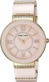 Anne Klein Women's AK/2832LPGB Swarovski Crystal Accented Gold-Tone and Light Pink Ceramic Bracelet Watch