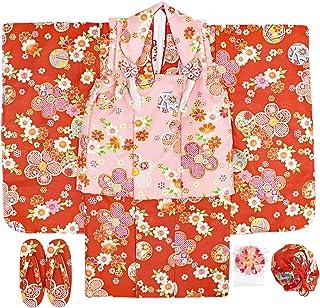 七五三 3歳着物 被布10点セット ガールズ 朱色 ピンク 花柄 古典 N3211