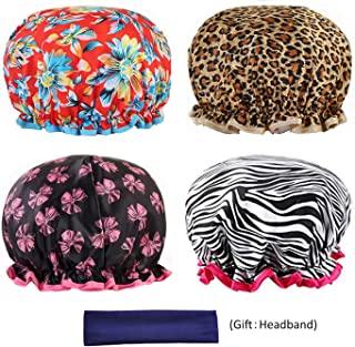 Shower Cap for Women, 4 Pack Bath Caps Waterproof Double Layer Print Shower Hat for Women All Hair Lengths and Thicknesses (27 cm, Print A)