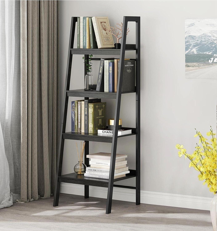 Saedew 4-Tier Ladder Shelf, Ladder Bookshelf, Modern Ladder Bookcase for Living Room, Home Office, Wooden and Metal Frame, Single Black