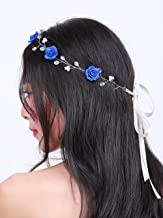Missgrace Bridal Crystal Navy Blue Headband Wedding and Bride Hairpiece for Evening Party -Navy Blue Flower Women and Flower Girl Vintgae Hair Vine Bridal Hair Accessories