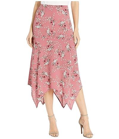kensie Charmed Bouquets Shark Bite Skirt KS0K6349 (Vintage Rose Combo) Women