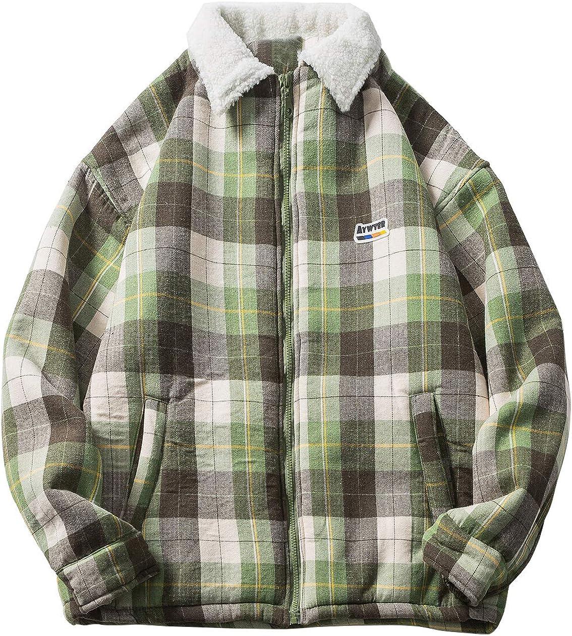 CHARTOU Men's Chic Lapel Collar Fleece-Lined Plaid Down Alternative Jacket Outwear