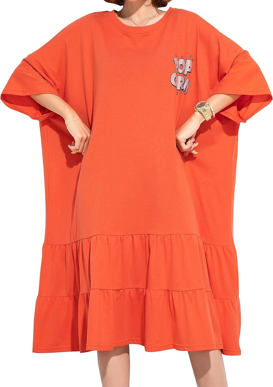 ellazhu Women Summer Cute Casual Loose Short Tshirt Dress t Shirt Beach GA2047 A