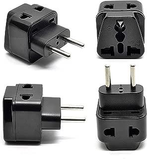 OREI Europe Power Plug Adapter Works in Russia, Turkey, Ethiopia, Korea, Monaco and More   (Type C) - 4 Pack, Black