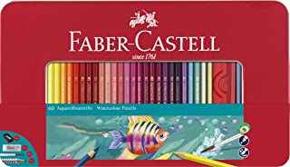 Faber-Castell Watercolour Pencils, Tin of 60 Plus Accessories, (16-115964)