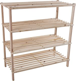 Lavish Home Wood Shoe Rack, Storage Bench – Closet, Bathroom, Kitchen, Entry Organizer, 4-Tier Space Saver Shoe Rack