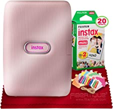 $104 » Fujifilm Instax Mini Link Smartphone Printer (Dusky Pink) Instax Mini Twin Film (20 Exposures), Colorful Film Frames with Hanging Clips & Fibertique Microfiber Cleaning Clot