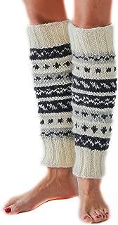 Hand Knit Wool Fleece Lined Leg Warmers Boot Toppers