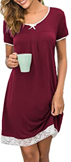 Hotouch Sleepwear Womens Cotton Nightgown Short Sleeve Sleep Nightdress Scoopneck Sleep Tee Nightshirt S-XXL