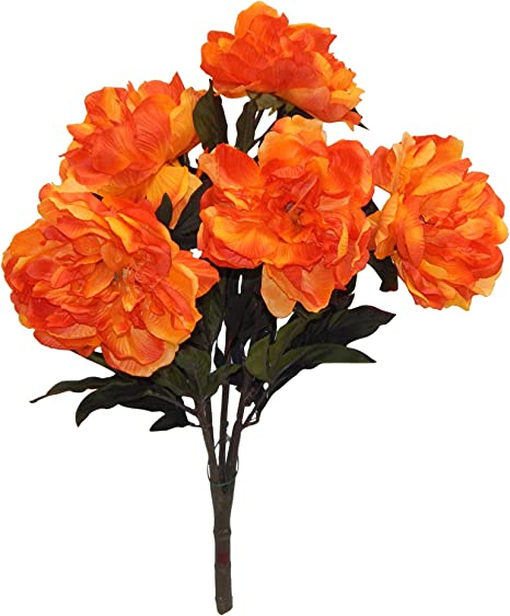 Amazon Com Wholesale Silk Floral Artificial Flowers Tall Peony Garden Party Wedding Craft Stores Special Event Decoration Bush 22 In Orange Home Kitchen
