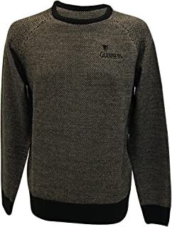 Guinness Official Crew Neck Sweater with Cross Stitch, Dark Yellow Colour