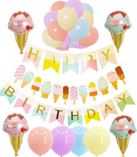 Ice Cream Party Supplies and Decorations for Kids Girls and Boys: 1 Happy Birthday Banner,1 Garland, 4 Foil Balloons, 16 Colorful Latex