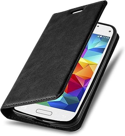 Cadorabo Hülle für Samsung Galaxy S5 Mini / S5 Mini DUOS - Hülle in Nacht SCHWARZ – Handyhülle mit Magnetverschluss, Standfunktion und Kartenfach - Case Cover Schutzhülle Etui Tasche Book Klapp Style