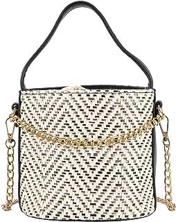 Onfashion Women's Summer Drawstring Straw Bucket Beach Bag Woven Crossbody Top-handle Bag Shoulder Bag