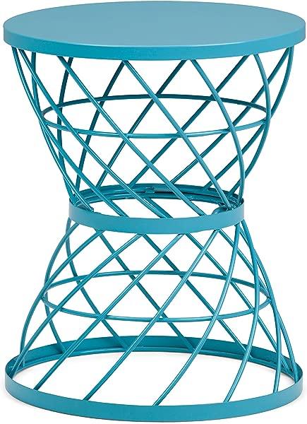 Simpli Home AXCMTBL 02 Rodney Contemporary 16 英寸宽金属装饰蓝绿色边桌