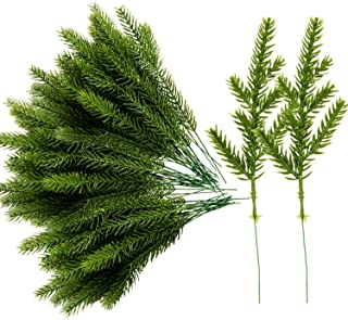 Alpurple 60 Packs Artificial Pine Needles Branches Garland-6.7x2.0 Inch Green Plants Pine Needles,Fake Greenery Pine Picks...