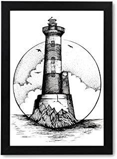 Wall Photo Frame of Light House Painting | Handmade Painting | Modern Art Pen Sketch Drawing | Portrait Painting for Wall,...