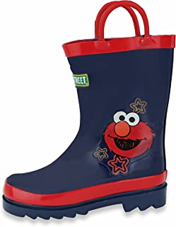 Sesame Street Kids Boys' Character Printed Waterproof Easy-On Rubber Rain Boots (Toddler/Little Kids)