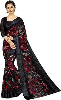 PERFECTBLUE Women's Digital Linen Saree with Unstitched Blouse Piece (DiGiDark)