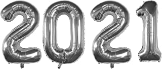 Tuoyi Silver Foil Number 2021 Balloons for New Years Eve Party 2021 Big Festivel Graduations Balloons for Home/Office - An...