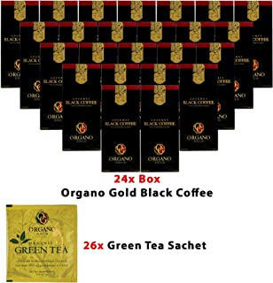 24 Boxes Organo Gold Instant Black Coffee (30 Sachets Per Box) + Free 26 Sachets Organo Gold Green Tea Sample Pack + FREE EXPRESS Delivery