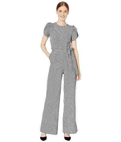 Calvin Klein Printed Tulip Sleeve Jumpsuit (Black/Cream) Women