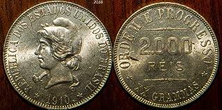 1910 - 1910 Brazil 2000 Reis KM#508 2000 reis Seller BU Uncirculated