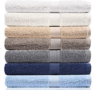 CrystalTowels 7-Pack Bath Towels - Extra-Absorbent - 100% Cotton - 27